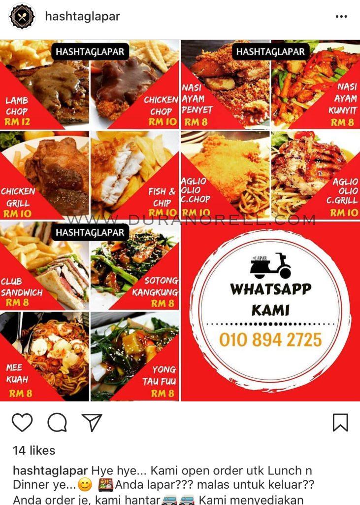 KL Food Delivery : Hashtag Lapar Cafe